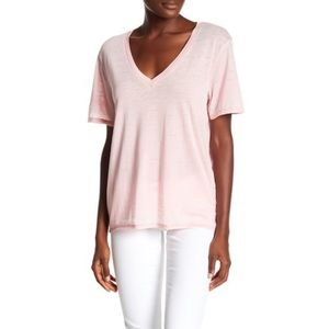 Abound Burn Out Pink Short Sleeve V-Neck Top